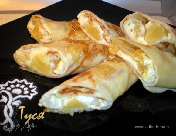Кокосовые блинчики (на кокосовом молоке с начинкой из сливок с ананасом)