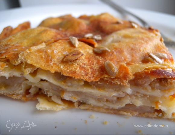Пирог с яблоками, злаковыми хлопьями и семечками