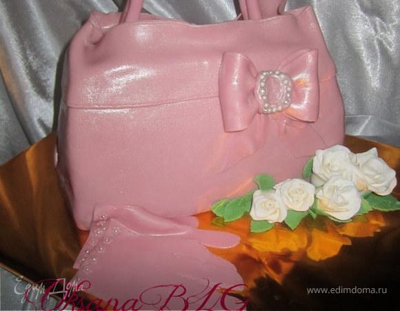 """Торт """" Перчатки, сумка и цветы"""", как всегда все сладко и съедобно)"""