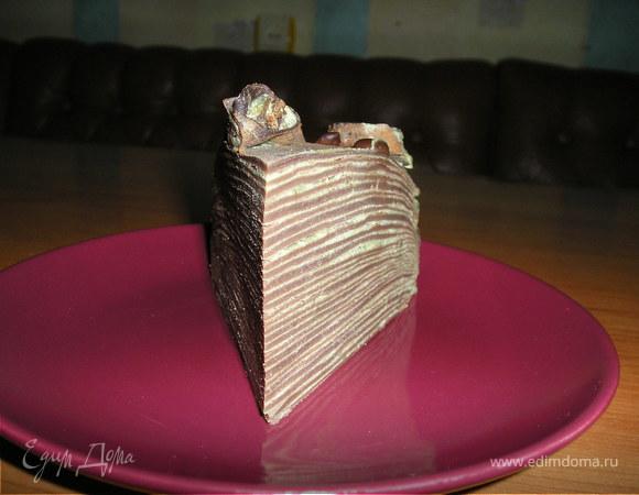 Блинный шоколадный торт с чаем матча