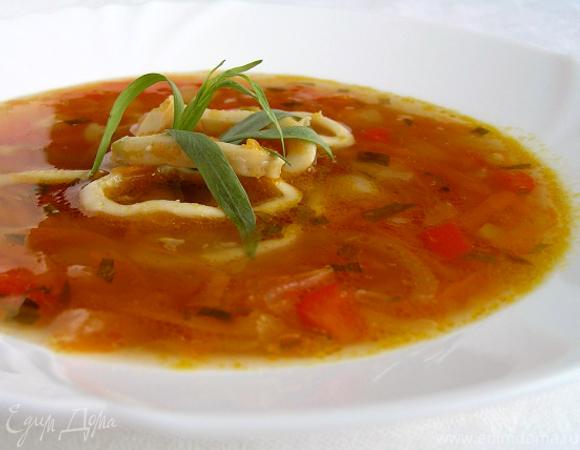 Суп с кальмарами и эстрагоном