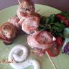 Шашлычки из индейки с базиликом и беконом
