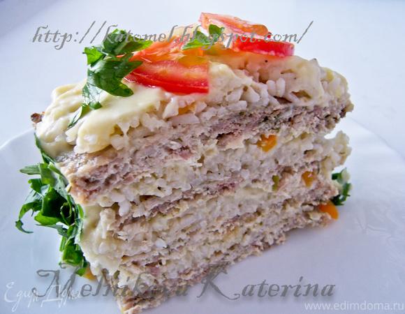 Закусочный мясной торт с кремом Авголемоно