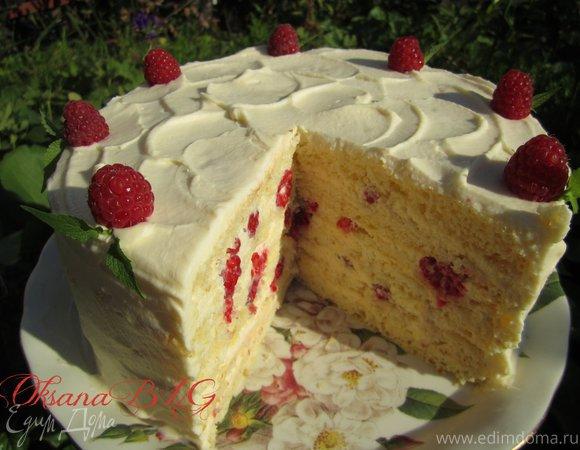 "Торт ""Молочно-малиновая девочка"""