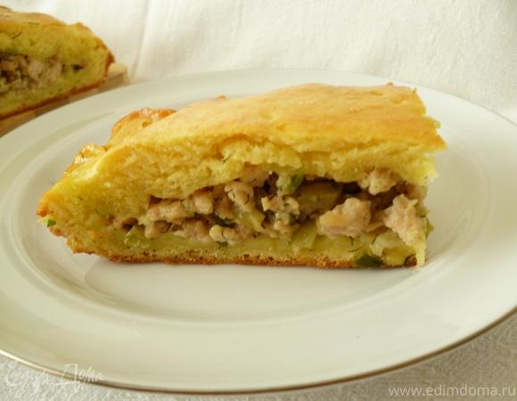 Вкуснейший пирог из творожного теста с мясной начинкой