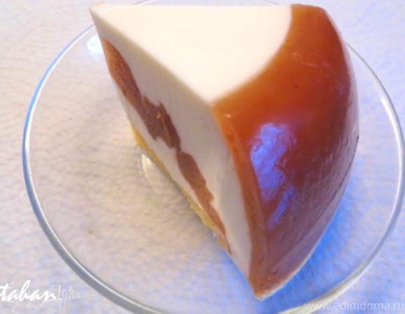 Творожный мусс в персиковом желе