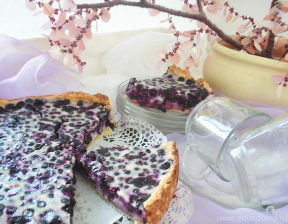 Пирог с черникой и сладкой заливкой