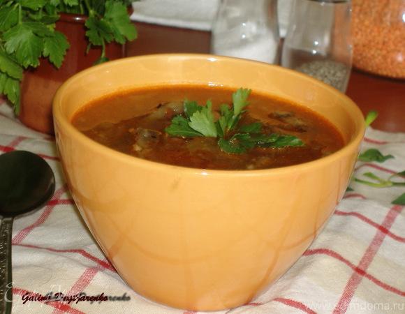 Суп из баклажанов с чечевицей