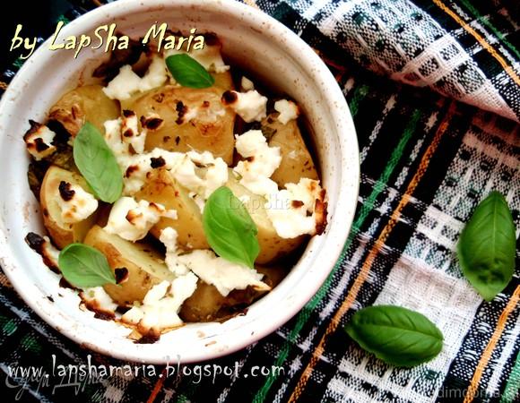 Молодой картофель с легкой фетой и базиликом