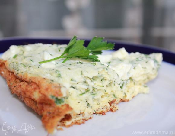 Взбитый омлет с сыром и зеленью