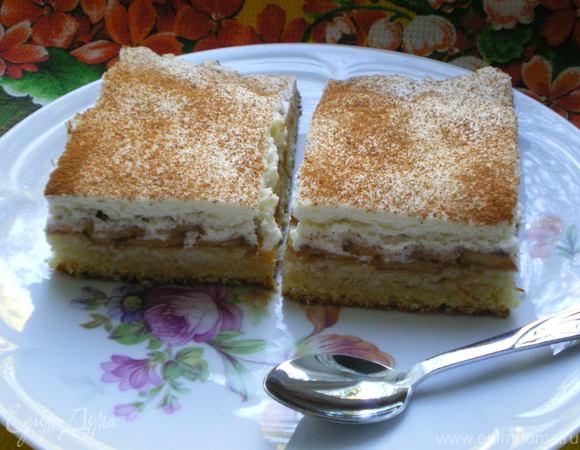 Персиковый пирог с кремом