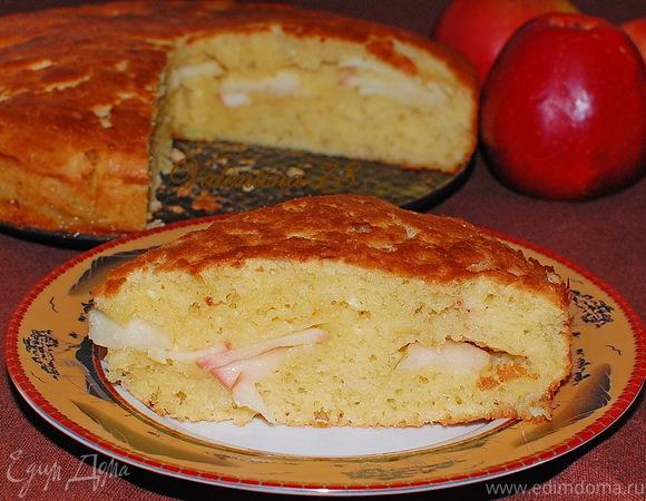 Творожный пирог с яблочной прослойкой