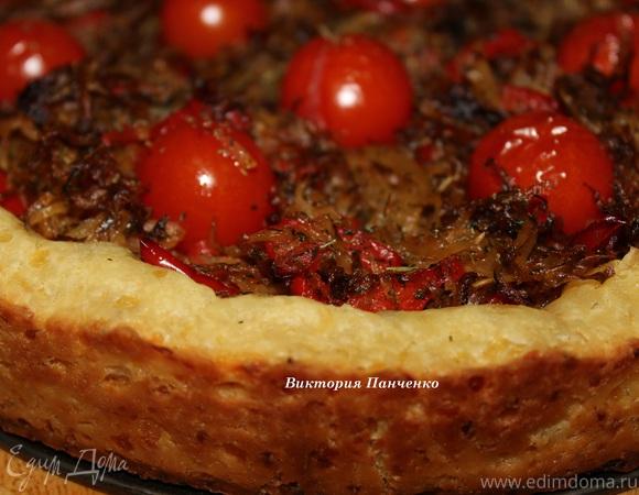 Открытый овощной пирог на картофельном тесте