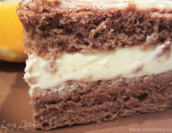 Шоколадное медово-апельсиновое пирожное