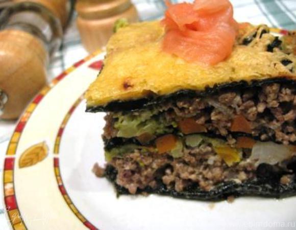 Мясной пирог без теста с овощной начинкой