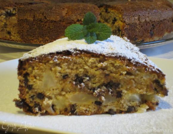 Пирог из цельнозерновой муки с грушами, шоколадом и грецкими орехами