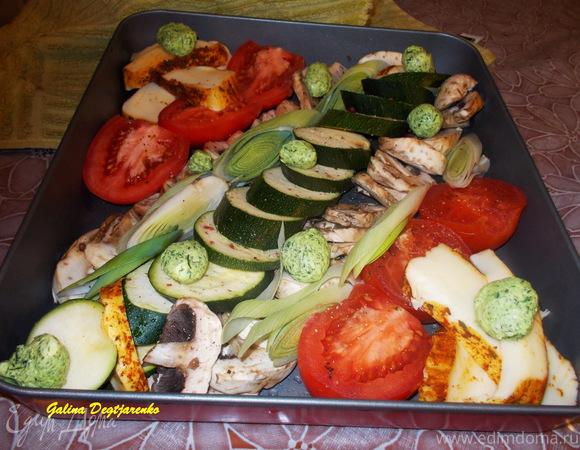 Овощи, запеченные с брынзой и грибами