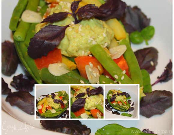 Салат из стручковой фасоли с помидорами