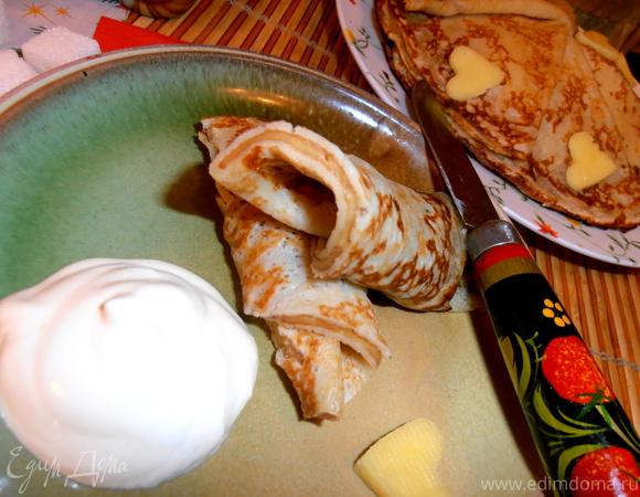 Тонкие блинчики с сырной прослоечкой