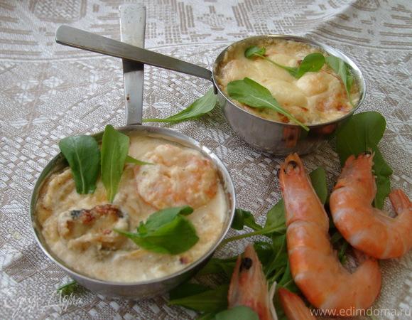 Жюльен с креветками и мидиями