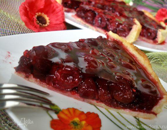 Вишневый пирог на основе из творожного теста