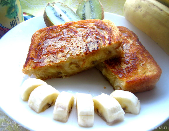 Хрустящий тост с карамельным бананом