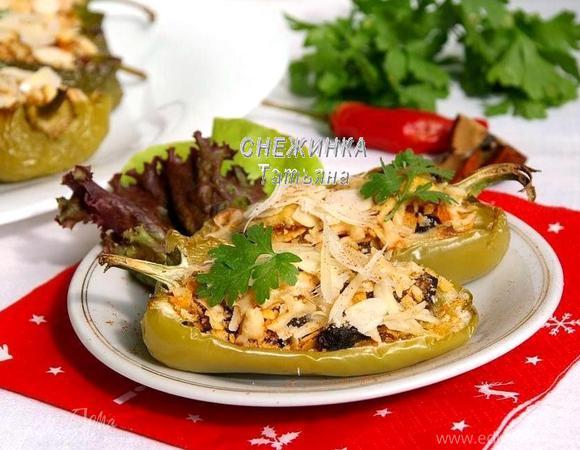 Перцы, запеченные с грибами под шапочкой из миндаля и сыра Джюгас