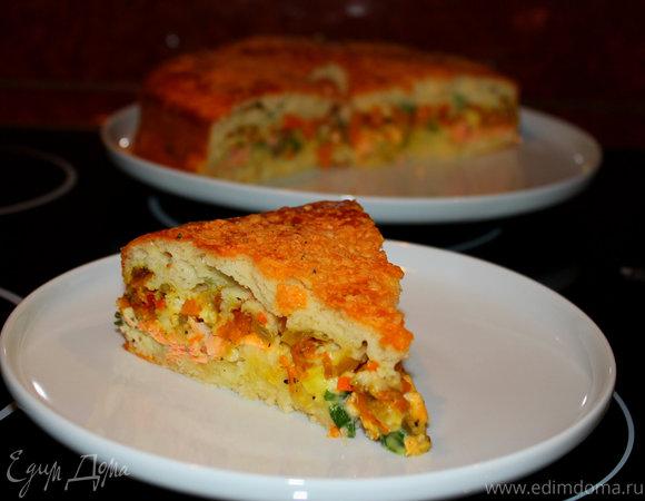 Овощной пирог с лососем и тыквой + мягкое тесто без дрожжей