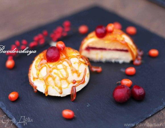 Тыквенно-облепиховое пирожное
