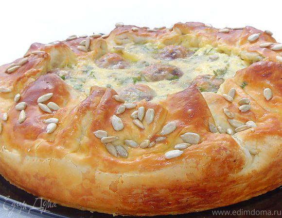 Праздничный пирог с тефтелями