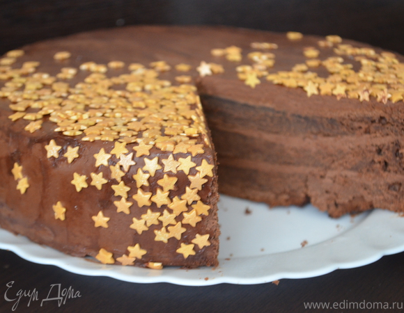 """Новогодний шоколадный торт """"Ночное небо"""""""