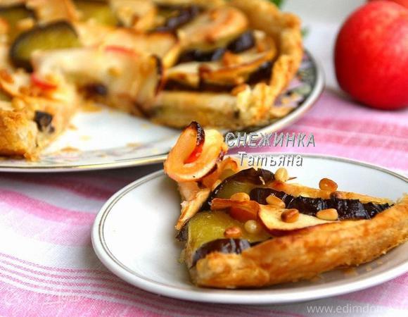 Сладкий открытый пирог с баклажаном и яблоками для Олечки (Ольчик:))
