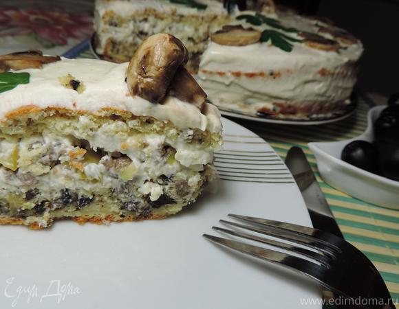 """Закусочный грибной торт """"Пикантный"""""""