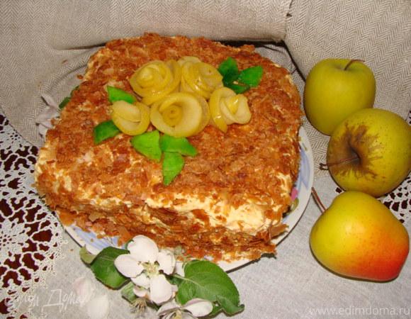 "Мини-торт ""Яблоневый цвет"" + рецепт слоеного бездрожжевого теста"