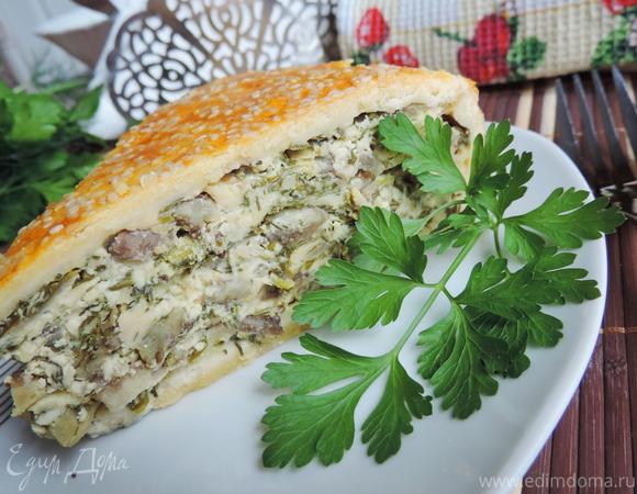 Закрытый творожно-сырный пирог с баклажанами и зеленью