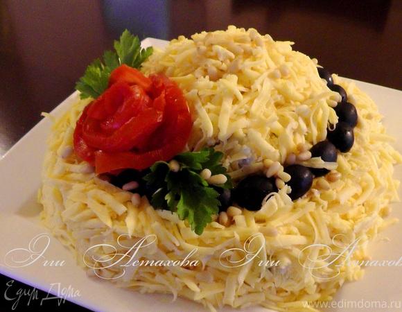 салат шляпа с морепродуктами рецепт с фото
