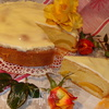 Пирог с персиками и шафраном в сметанной глазури