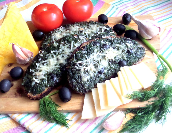 Горячая закуска со шпинатом и сыром