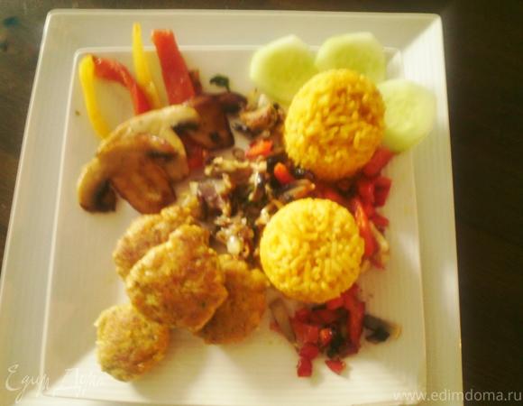 Котлеты из путассу с рисом и овощами