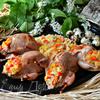 Перепела, фаршированные кускусом и запеченные в апельсиновом фреше