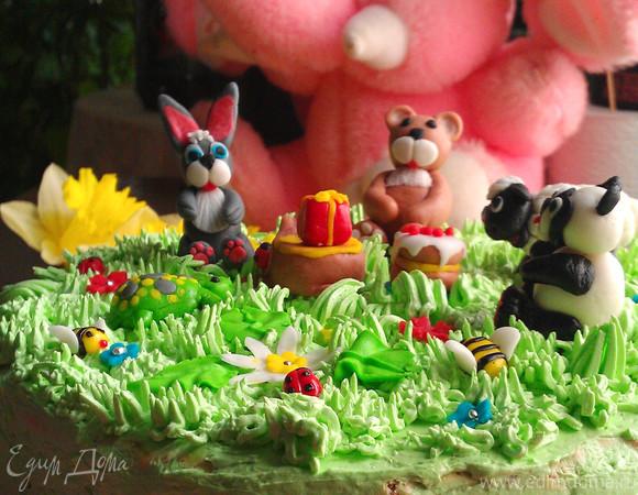 """Торт-безе """"Сказочная полянка"""""""