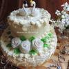 """Свадебный двухъярусный торт """"Лебединая верность"""""""