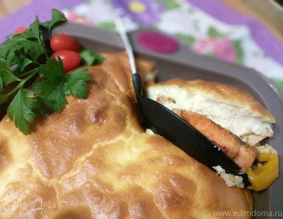 Рагу из лосося с перловкой под сырным суфле