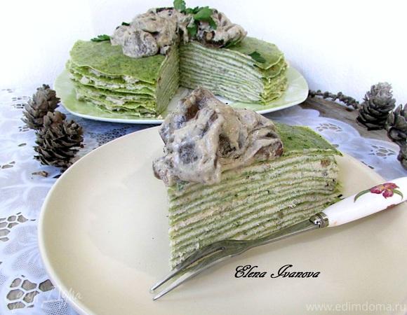 Блинный тортик с грибным соусом