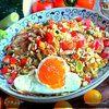 Рис с овощами и ветчиной