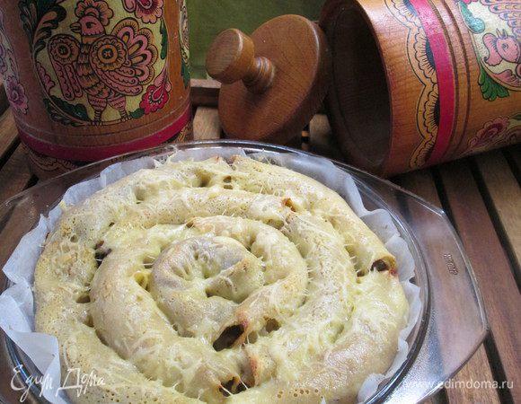 Блинный пирог-улитка с жульеном