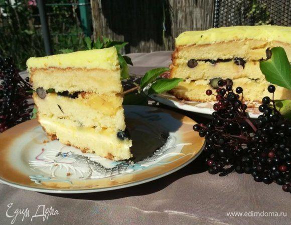 Лимонный торт с черникой