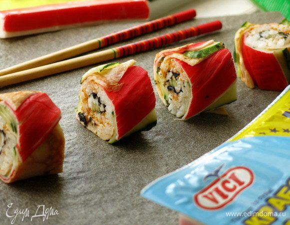 Радужные суши с крабовыми палочками