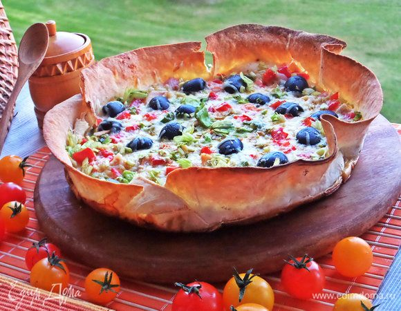 Омлетный пирог в лаваше