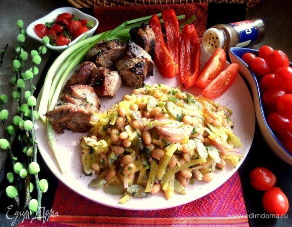 Фасолевый салат с капустой по-корейски